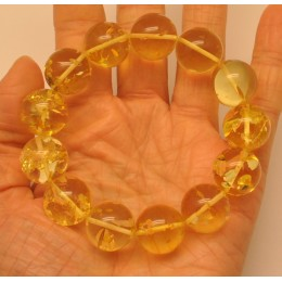 Natural transparent round beads Baltic amber bracelet 17 mm.