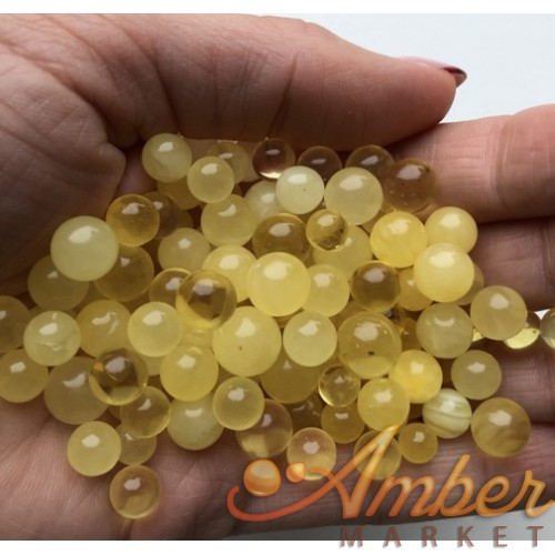 Loose round amber beads,not drilled 50g