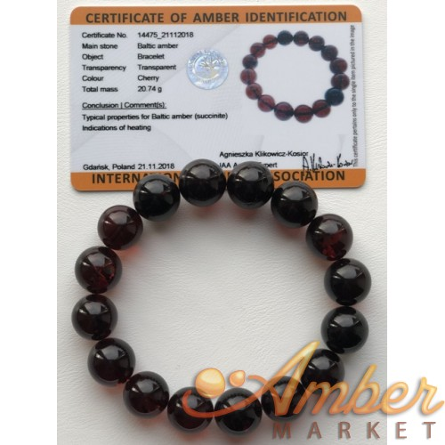 Cherry amber bracelet ,round beads 13mm( Certificate included)