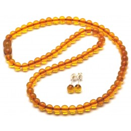Round beads amber set of necklace and earrings