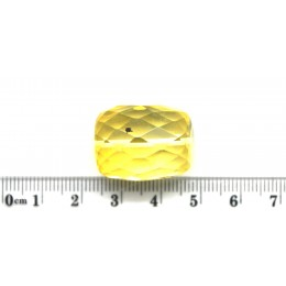 Big drilled Baltic amber faceted barrel shape piece