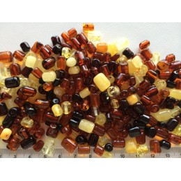Loose drilled Baltic amber barrel shape pieces 50g