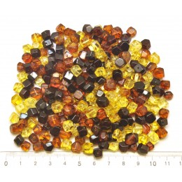 Drilled  amber faceted beads 50 g .