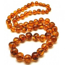 Long cognac baroque beads Baltic amber necklace