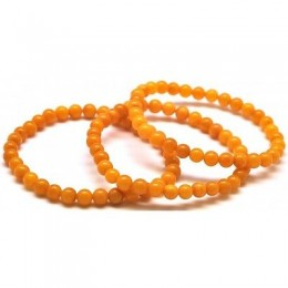 3 Natural round beads amber bracelets 5,7 mm.