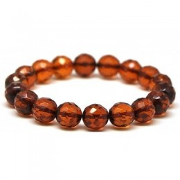 Cognac faceted round beads Baltic amber bracelet 11 mm.
