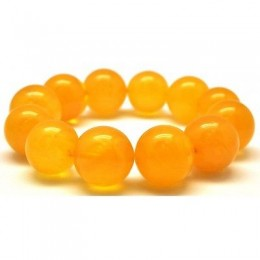 Natural round beads antique color Baltic amber bracelet 15 - 17 mm.