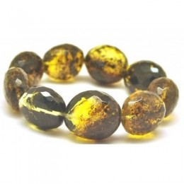 Green faceted amber beads bracelet