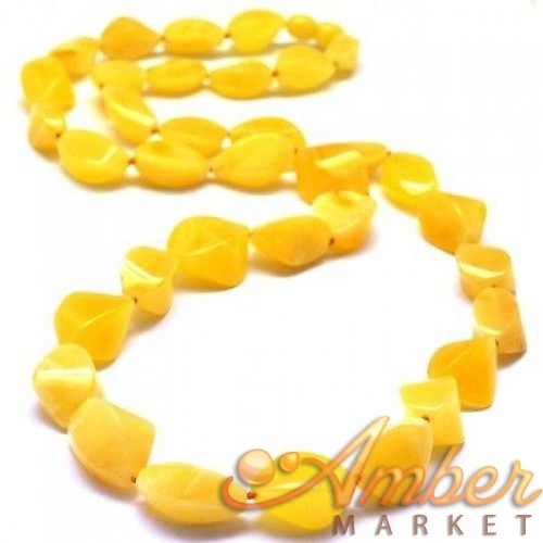 Faceted long Baltic amber  yellow necklace
