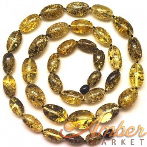 Olive shape green  Baltic amber long necklace