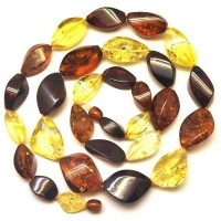 Multicolour faceted Baltic amber long necklace