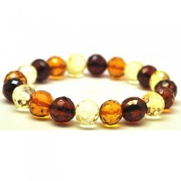 Baroque beads faceted Baltic amber bracelet