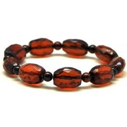 Faceted barrel  shape Baltic amber  bracelet