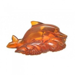 Hand carved Baltic amber figure of dolphin