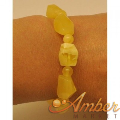 Natural faceted yellow Baltic amber bracelet