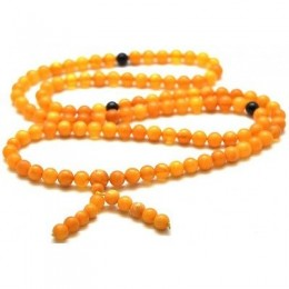 Unpolished elastic Tibetan Buddhist Mala Prayer 108 Baltic amber beads 6,7 mm